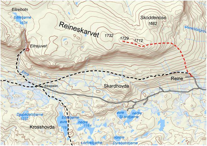 reineskarvet kart 2.10 Topptur Reineskarvet reineskarvet kart
