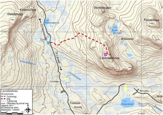 kart gps koordinater Ål52 :: Lauvdalsbrea kart gps koordinater